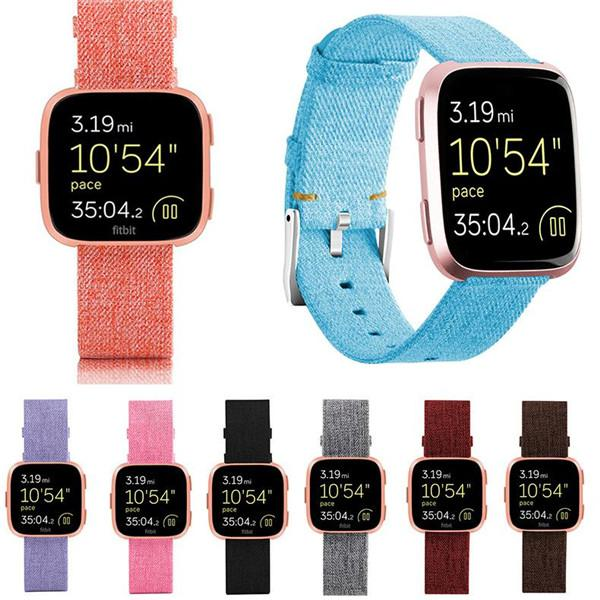 Sports Woven Fabric Band Woven Nylon Canvas Watchband Buckle Strap Wristband For Fitbit Versa Smartwatch Watch Band Wrist Bracelet