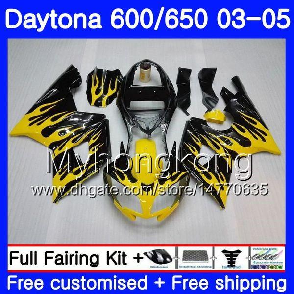 Carrosserie Flammes jaunes Pour Triumph Daytona600 Daytona 650 600 02 03 04 05 321HM.13 Daytona 650 Daytona 600 2002 2003 2004 2005 Kit de carénage