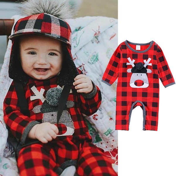 Christmas Baby Romper Infant Toddler Baby Boy Girl Long Sleeve Plaid Romper Deer Jumpsuit Outfits Kids Clothes Children Boutique Clothing