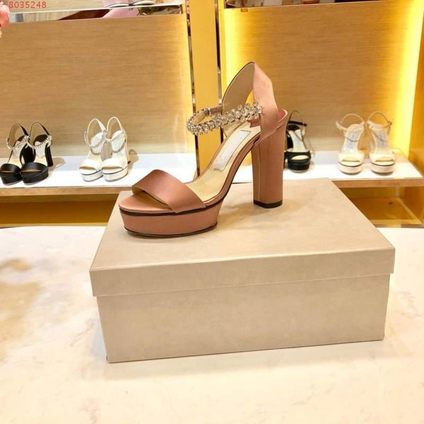 Women new high heels Pure silk high platform sandals Women open-toed leather sandals with thick heels and thick soles