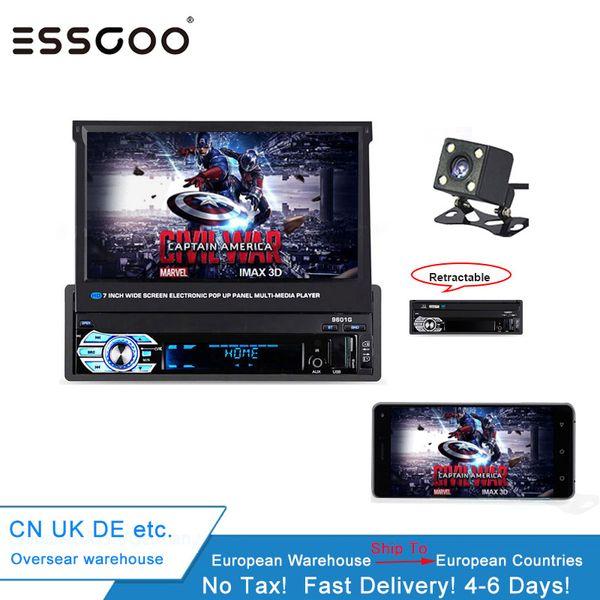 Essgoo Автомагнитолы 1 DIN Выдвижной сенсорный экран Mp5 Bluetooth плеер Автомагнитола FM USB зарядка Tf Aux Android Phone Mirror Link