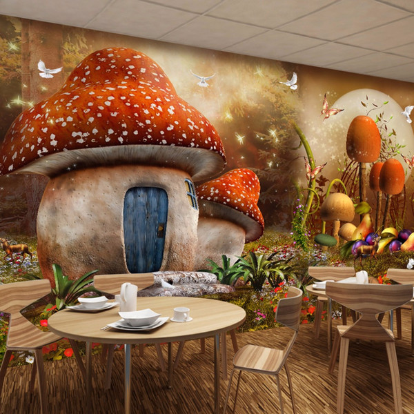 Custom 3D Mural Wallpaper Cartoon Fairy Tale World Mushroom House Butterfly  Flower Photo Background Children'S Room Wallpaper 3d Desktop Wallpapers