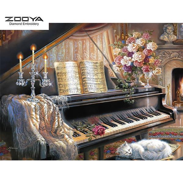 ZOOYA DIY 5D Full Round Diamond Painting Embroidery Diamond Mosaic Seaside Piano Cross Stitch Home Decor
