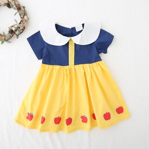 2019 kids clothes Girls print cartoon lotus leaf dress 1-6 years old boy lapel princess dress short sleeve skirt