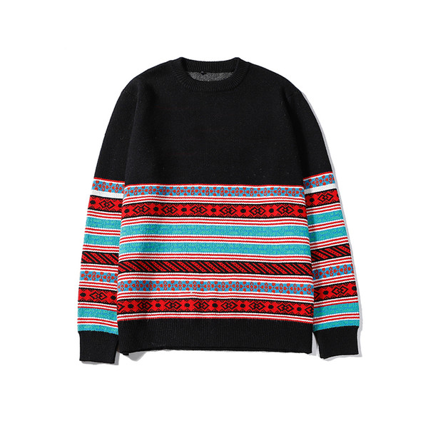 New Arrival Mens Womens Luxury Pullover Sweaters Fashion Designer Brand Contrast Stripe Crew Neck Long Sleeve Sweater Top Quality B100271V