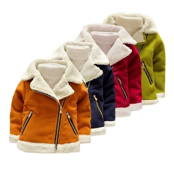 Fleece Thicken Faux Suede Boys Baby Warm Jacket for Fall Winter Leather Coat for Toddler Girls Kids Children's Clothes