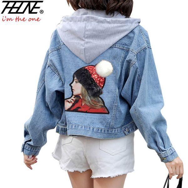 Jeansjacke Frauen Chaqueta Mujer Veste Femme lose Stickerei Cartoon mit Kapuze Overcoat Plus Size Jeans Jacken weiblich Jaqueta