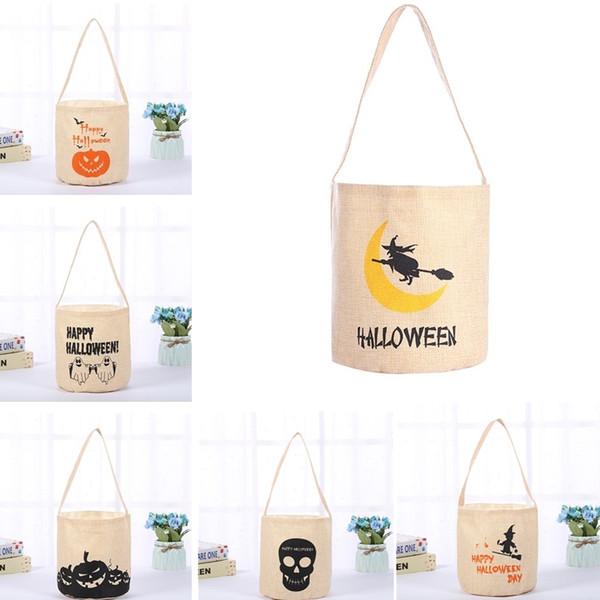 El más nuevo bolso de caramelo de Halloween Night Glow Canvas Candy Sack Bag Pumpkin Witch Print Bucket Catoon Canvas Bags Bolso de regalo para la fiesta de Halloween