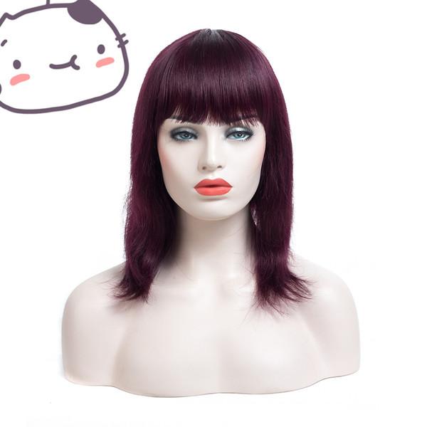 Cheap fashionable sexy bangs unprocessed raw virgin remy human hair medium burg silky straight full lace cap wig for women