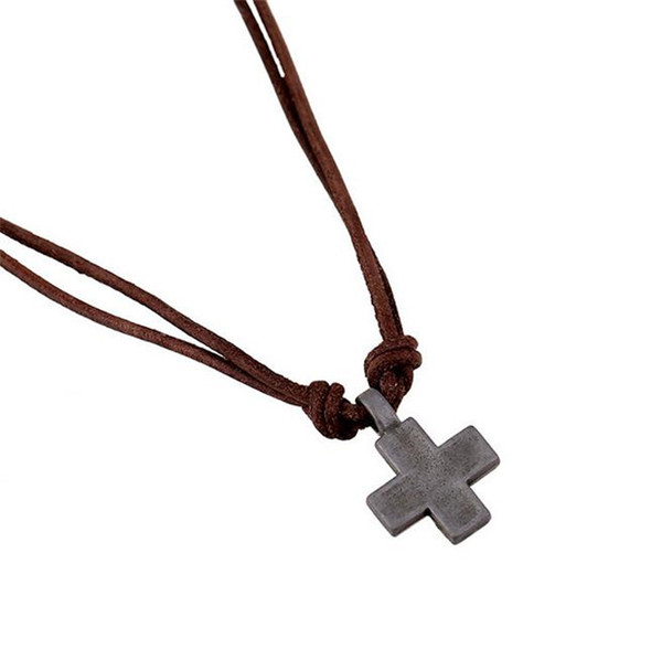 Mens Fashion Cross Pendant Leather Chain Necklace Vintage Cowhide Alloy Necklaces Stainless Steel Jewelry Lover Jewelry Handmade -P