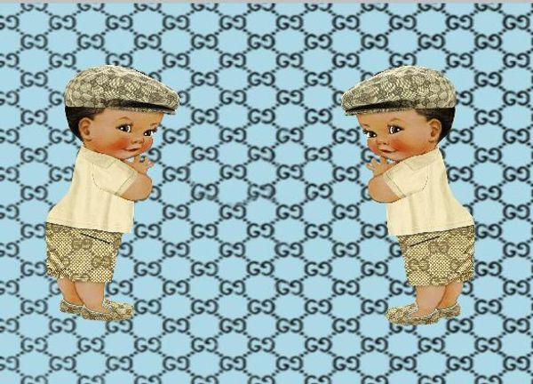 7x5FT Light Blue Damask Pattern Twin Boy Baby Shower Custom Photo Studio Backdrop Background Vinyl 220cm x 150cm