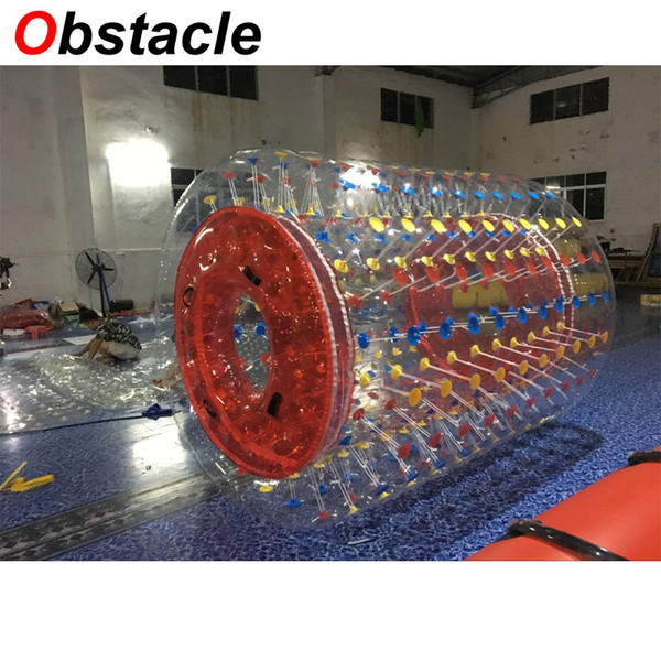 Inflatable Cylinder water drift multiplayer game cute Funny sport Play Outdoor 2.8m long Water float red buttons colorful PVC customized