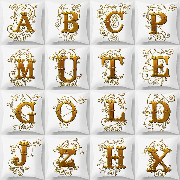 26 English Letters Alphabet Initials Cushion Covers Metal Color KING LOVE HOME Cushion Cover Pillow Case Sofa Decoration