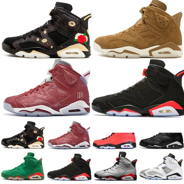 Sale 2019 Bred VI 6 6s Mens Basketball Shoes Infrared 23 3M Reflective Tinker Gatorade Green Red Blue Men Sports Sneakers Designer Trainers