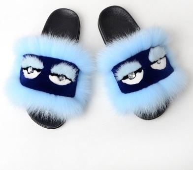 new Furry luxury fox fur slippers fluffy true hair monster flip flops ladies cute sandals fashionable hairy women hot shoes1564801379199