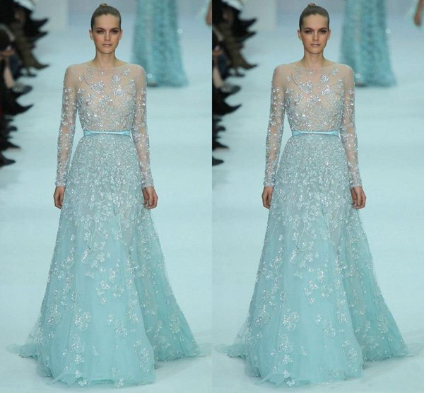 Elie Saab 2020 Sage Evening Dresses Sexy Sheer Illusion Long Sleeves Beaded Applique Floral Tulle Sweep Train Prom Dresses Gowns