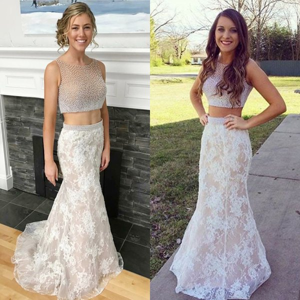 Luxury Beige Nice 2 pieces Evening Gowns Top Full Beaded Under Lace Formal Prom Maxi Long Dresses Evening Wear Best Women Beaded Waist