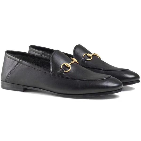 Klassische Designer Leder Beruf Schuhe Rundkopf-Metallknopf Frau Kleidschuhe Größe Frauen Schuhe