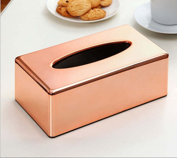 best selling Electroplated Rose Gold Tissue Box Holder - Rectangular Tissue Box Cover Napkin Paper Holder for Home, Living Room,Hotel,Office & Car Decor