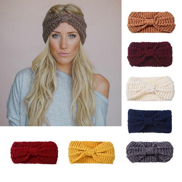 Women Lady Crochet Big Bow Knot Headband Turban Knitted Head Wrap Hairband Winter Ear Warmer Wide Headband Stretch Hair Band Accessories