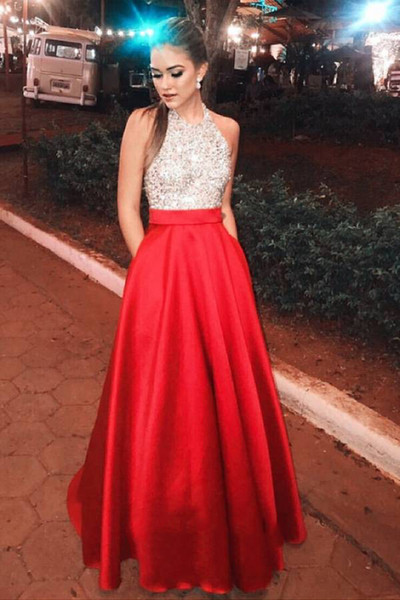 Red Plus Size Prom Dresses 2019 Long A Line Halter Beads Backless Satin  Floor Length Formal Dress Evening Gown Robe De Soiree DP0411 Best Prom  Dresses ...