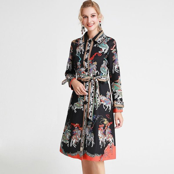 2019 Autumn Women's Turn Down Collar Long Sleeves Printed Sash Belt Fashion Casual Trench Coats Outerwear