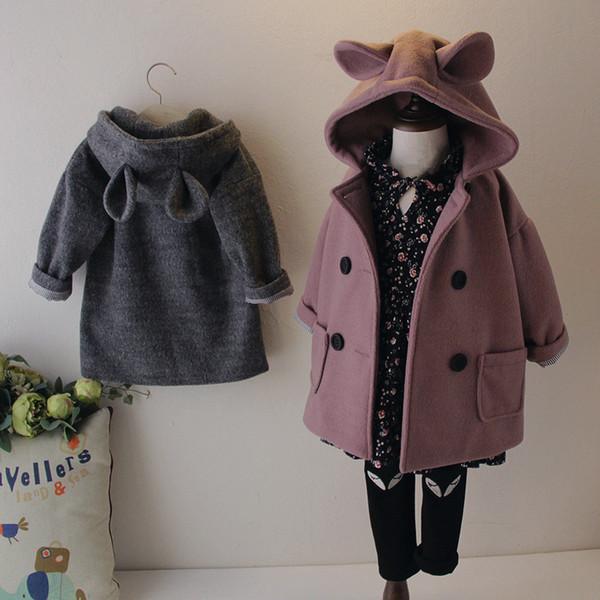 2019 outono e inverno novas meninas casaco de lã roupas infantis super cute orelhas de coelho cap double breasted outerwear de lã