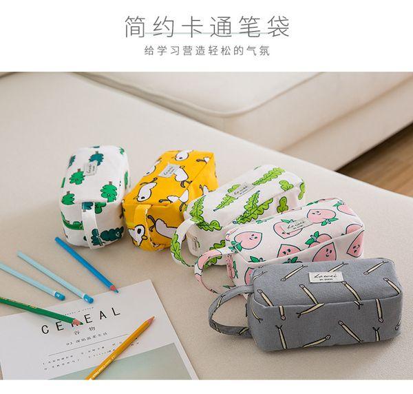 New Cute Creative Pencil Case Peach Large Capacity Canvas Leaves kawaii Pencil Bag Animal Pencilcase Stationery School Supplies