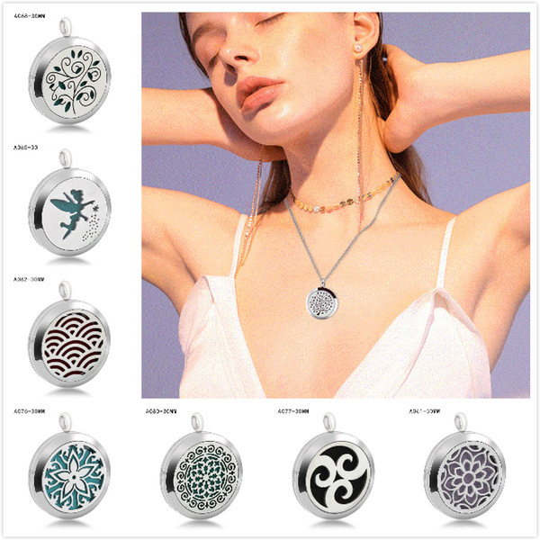 best selling 20 Styles Premium Aromatherapy Essential Oil Diffuser Stainless Steel Aromatherapy Gasket Pendant Box Locket Pendant Jewelry Gift