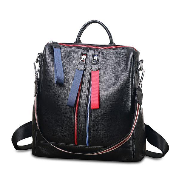 09aa55a6e4 Chic Hit Color Stripe Double Zipper School Bags pour sac à dos en cuir de  vachette en cuir de vachette grandes femmes sac à dos de voyage pour  ordinateur ...