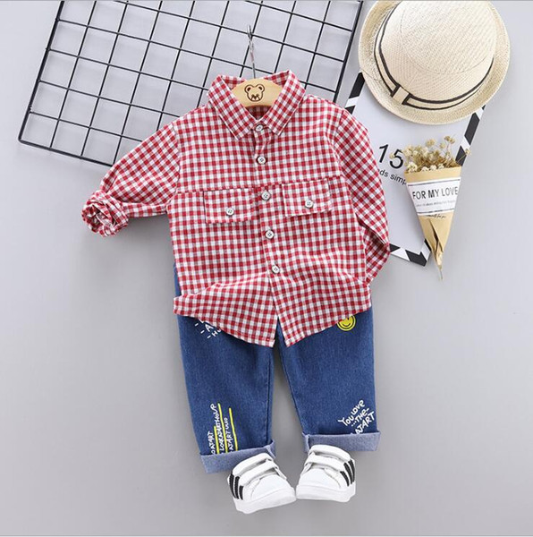 Vestito a due pezzi per bambini autunno nuova versione coreana di baby boy e ragazza camicia a maniche lunghe da cartone animato gufo due 1-4 anni