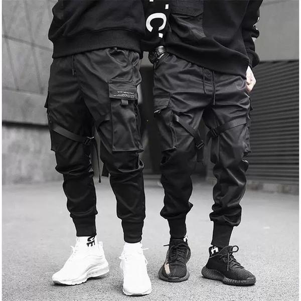 Hommes multi-poches taille élastique design Harem Pantalon Hommes Streetwear Punk Hip Hop Pantalons Joggers Homme Pantalon de danse