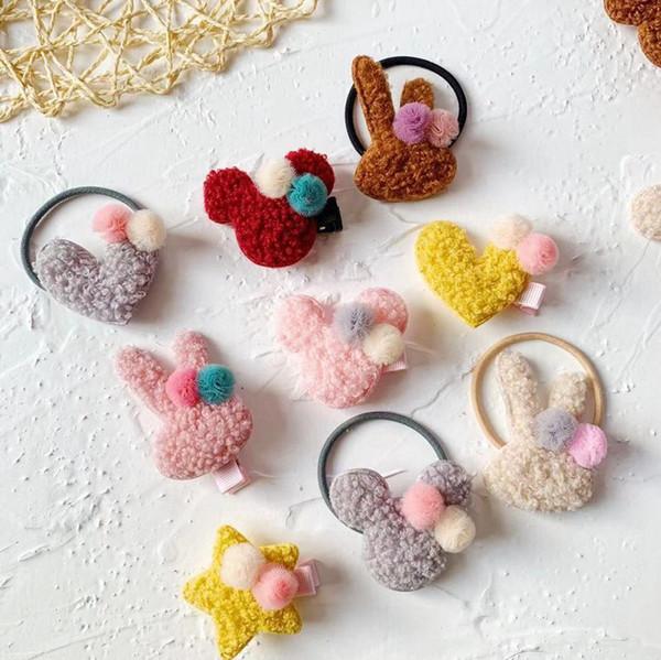 Acheter Mignon Bonbons Couleur Enfants Filles Barrette Dessin Animé Lapin Amour Coeur Enfants Pince à Cheveux Mode Rainbow Couleur Pompon Fille