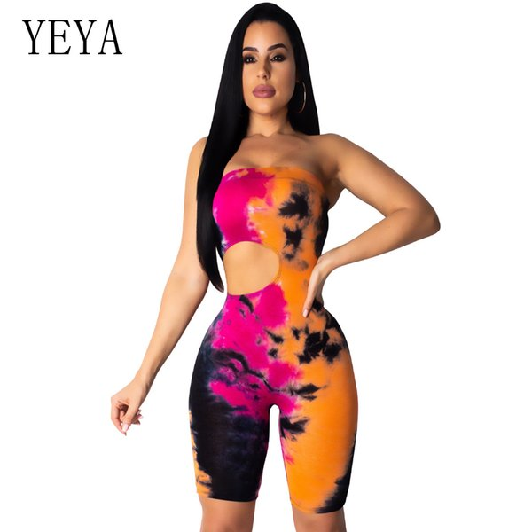 YEYA Summer Tie Dye Bodycon Rompers Womens Jumpsuit Off the Shoulder Hollow Out Bodysuit Club Party Playsuit Combinaison Femme