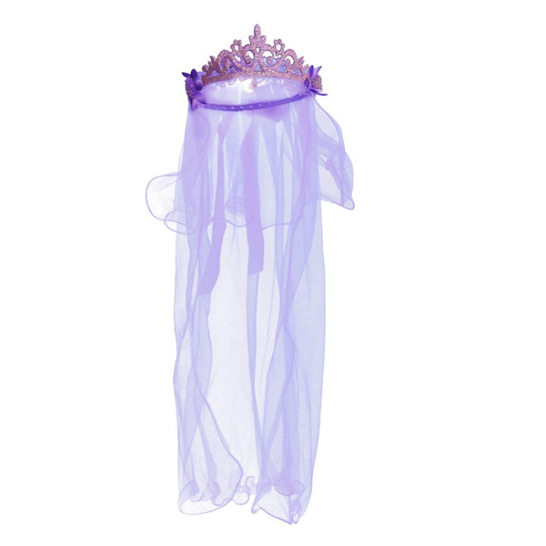 Delicate Flower Girl Veils Crown Two Layers White Wedding Communion Hair Wreath