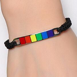 Gay Jewelry Couple Rainbow Bracelet Pride Plastic Woven Hand Strap 14-27cm Adjustable Stainless Steel Bracelets Free Shipping