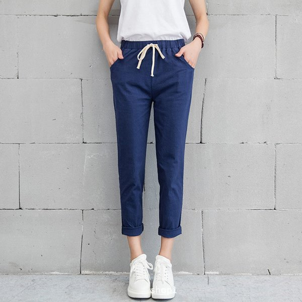 New Women Casual Spring Autumn Big Size Long Trousers Solid Elastic Waist Cotton Linen Pants Ankle Length Haren Pants