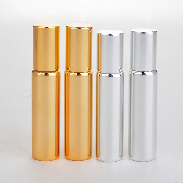 10 ml Gold/Silver/Black Color Metal Roller Perfume Bottle For Essential Oils UV Roll-on Glass Perfume Vials