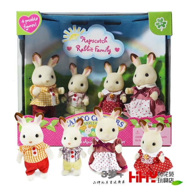 Hopscotch Coniglio Bunny Famiglia mini formato Sylvanian famiglia di origine Figure Anime Cartoon figure, Giocattoli bambini giocattoli del regalo
