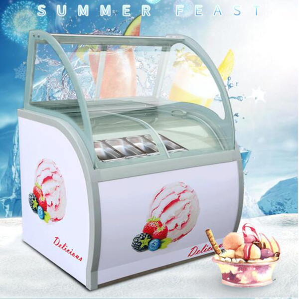 top popular CE approved display cabinet glass food Freezer manual popsicle showcase 12 round barrels or 14 square barrels ice cream display cabinet 2020