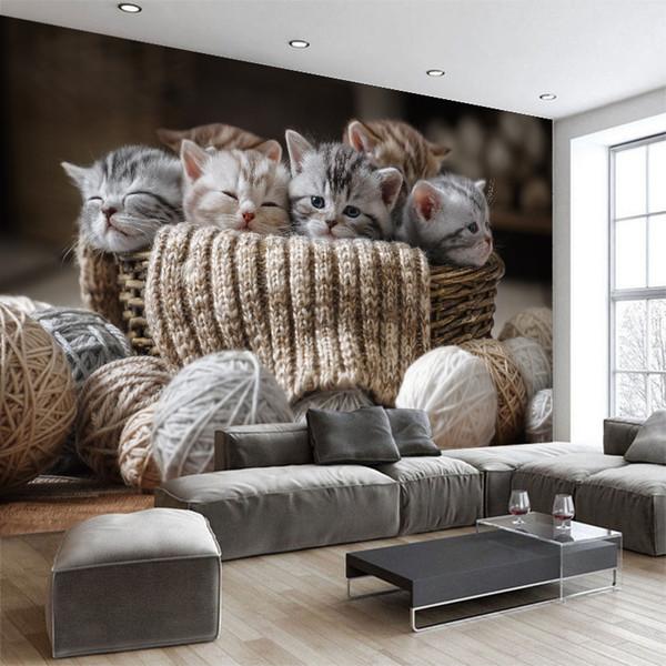 Benutzerdefinierte 3d wallpaper Cute Kleine Katzen TV Sofa Hintergrundbild Wohnzimmer Schlafzimmer Hotel Wandbild Galerie Dekoration