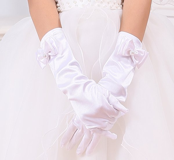 Девушки Свадьба принцессы перчатки Белый Bowknot партии Дети День рождения церемонии Аксессуары для торжеств Девочка Performance перчатка