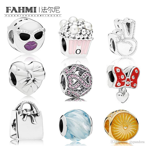 FAHMI 100% 925 sterling silver Shine Sunshine Charm Shopping Bag BLUE RIPPLES STAY COOL POPCORN SYMBOL OF PEACE BRILLIANT HEART BOW CHARMS