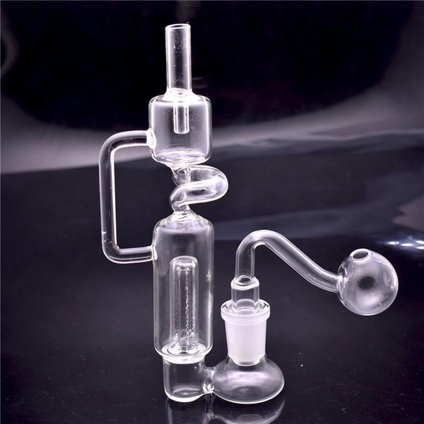Mini Bongo De Vidro Reciclador De Tubulação De Água Dab Rig Nectar Coletor de Perc Oil Rigs 14mm Bongos de Tubulação De Água com bacia e tubo queimador de óleo