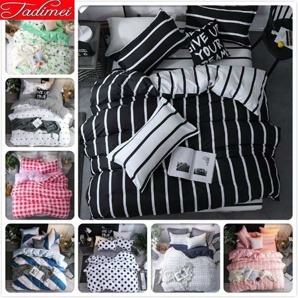 Classical Black White Stripe Duvet Cover 3/4 Pcs Bedding Set Adult Kid Soft Cotton Bed Linen Single Full Queen King Size 220x240
