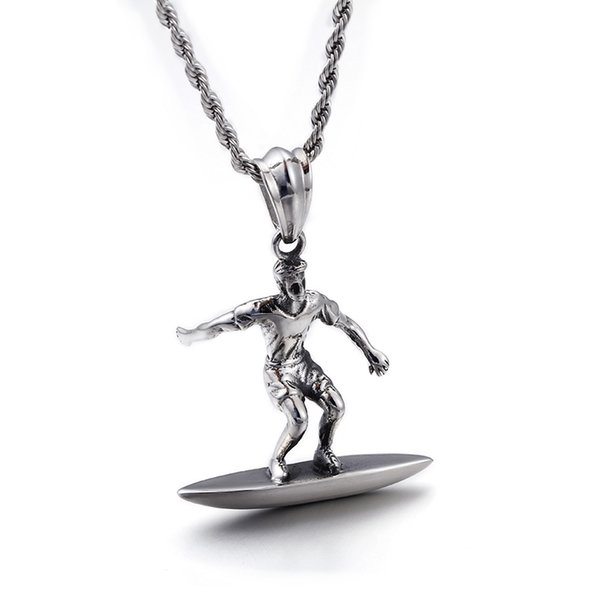 Wholesale Surfing Pendant Necklace For Men Stainless Steel Twisted Chain Necklace For Male Sea Charm Jewelry
