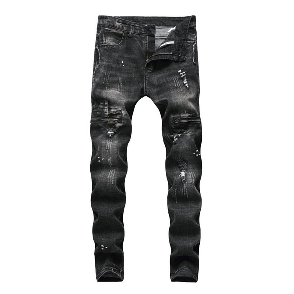 Jean for Men Vintage Ripped Hole Cool Skinny Trousers 2019 Spring Summer Casual Hiphop Pencil Pants Plus Size