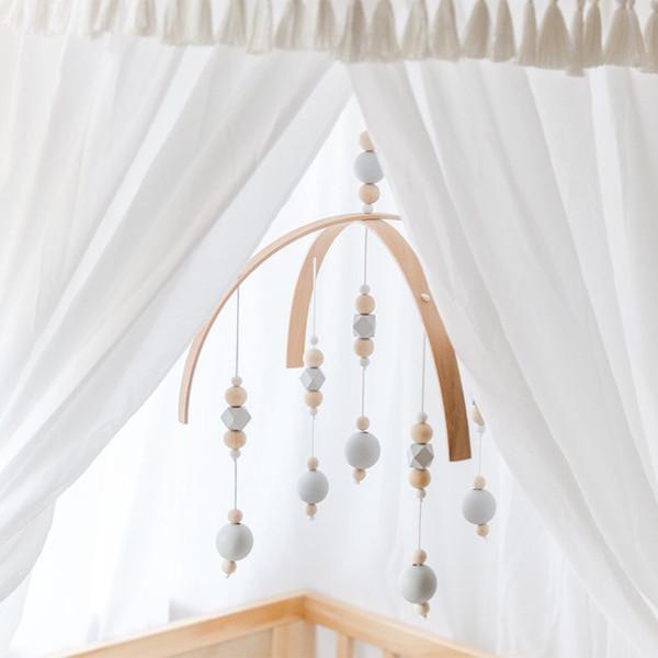 Hochet Mobile Jouets Perles En Bois Crib Toy Pour Les Nouveau-nés Carillons À Vent Bell Nordique Bébé Chambre Décoration Photographie Props Q190604