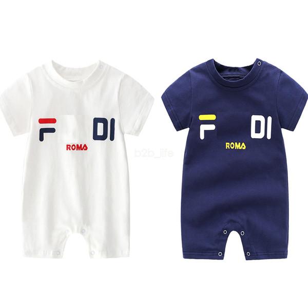 baby designer clothes Jumpsuit kids Summer Short Sleeve F Letter Print Romper Clothes cotton rompers Plasuit LJJA2597