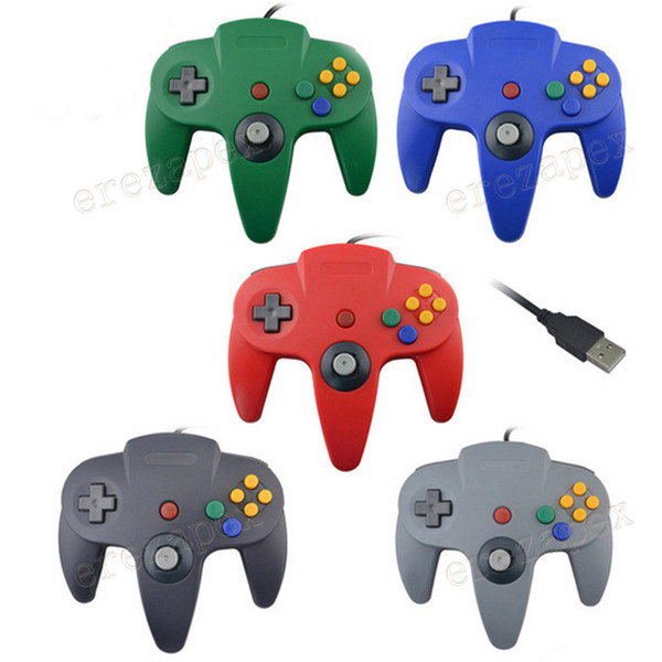 best selling USB Long Handle Game Controller Pad Joystick for PC Nintendo 64 N64 System 5 Color in stock